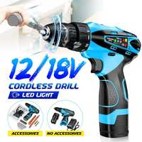 1 Set 18V Electric Brushless Cordless Li ion Impact Wrench Drill Torque Tool Kit Home Multifunction Hand Electric DIY Drill