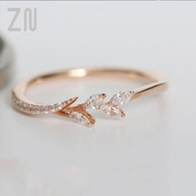 ZN New High Quaily Leaf Crystal Engagement Rings Women's Eternity Wedding Band Rings For Female Rose Gold Rings Jewelry Gifts zn new white crystal lace rings for women wedding engagement party beautiful rings rose gold fashion jewelry gift
