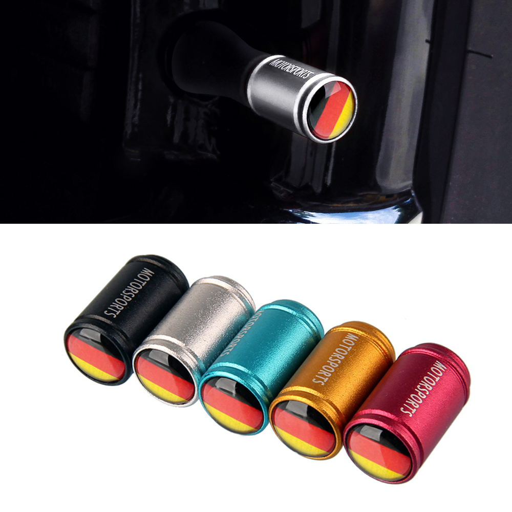 Germany Flag Car Dull Poliish Wheel Tire Valve Caps Cover For Vw Polo Golf Passat Tiguan Mercedes Benz Toyota Auris Audi A3 BMW