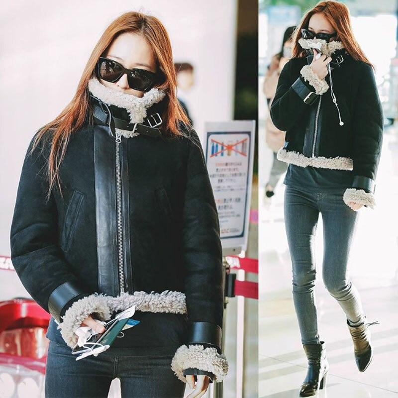 Faux Fur Coat Women 2019 Autumn Winter Faux   Leather   Jackets Ladies Long Sleeve Thick   Suede   Jacket Biker Streetwear Black Coat