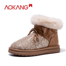 AOKANG Brand Winter Womens Snow Boots 2019 New Arrival Shoes Women Warm Plush Flat Ankel Ladies High Quality