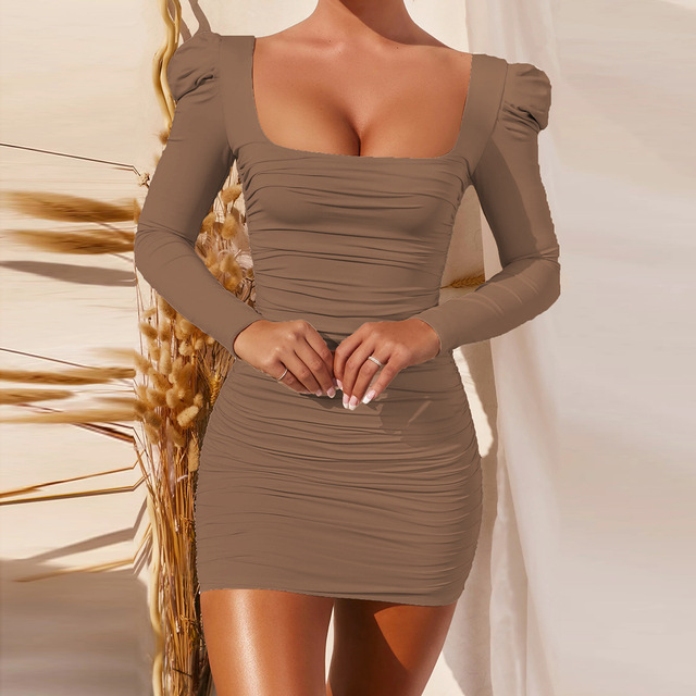 Long Sleeve Square Neck Spring Autumn black Wrap Ruched Bodycon dress Women Sexy Backless White Elegant short Mini Party Dress 6