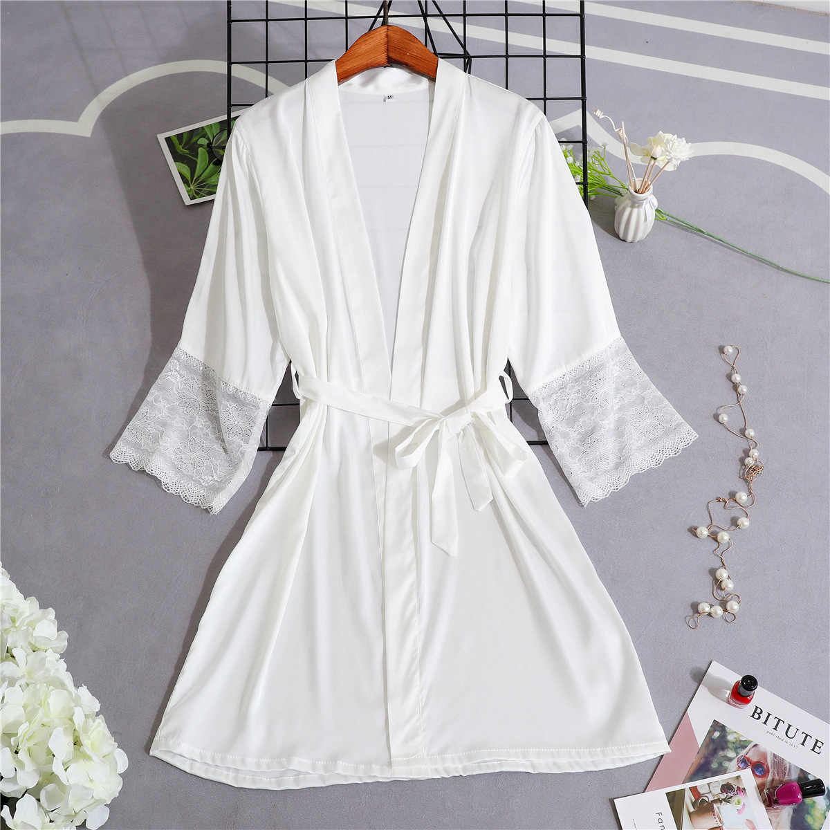 白 M-XXL レディース着物パジャマパジャマ V ネック夏の女性のパジャマ Sleepshirts