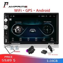 """AMPrime """" автомобильный мультимедийный плеер Andriod 2Din автомобильный Радио gps навигация Wifi Авторадио USB FM аудио Радио Стерео резервный монитор"""