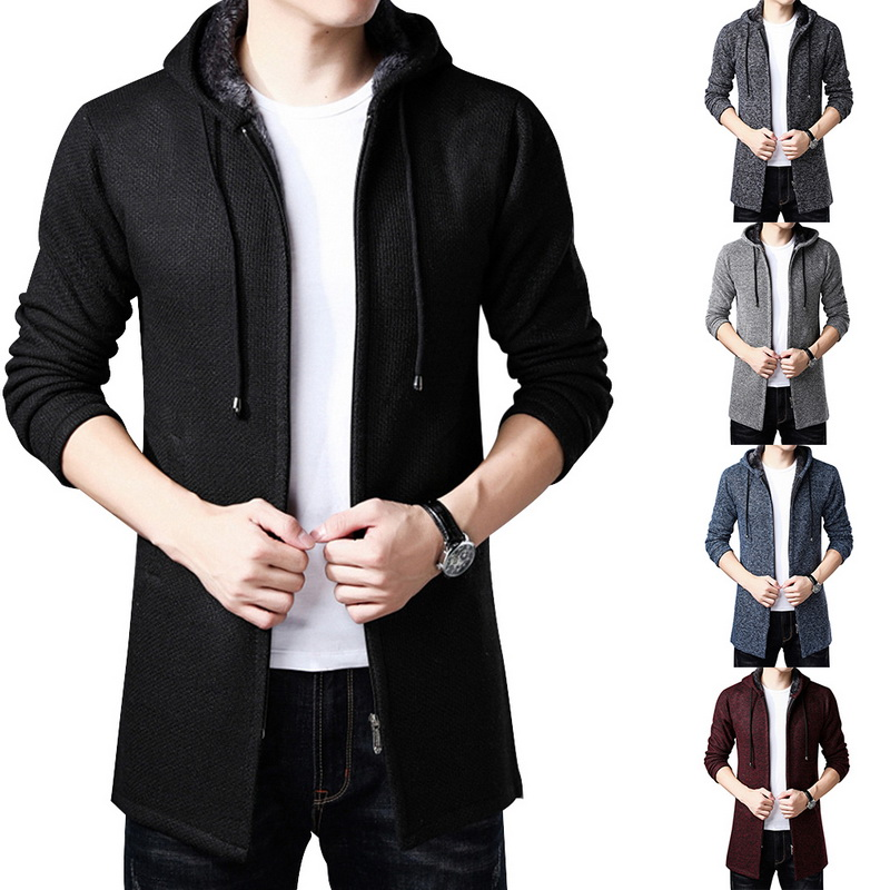 Fashion Nice Men Hooded Coat Solid Casual Korean Long-sleeved Sweatshirts 3XL Men Slim Long Cardigan Sweater Coat For Male