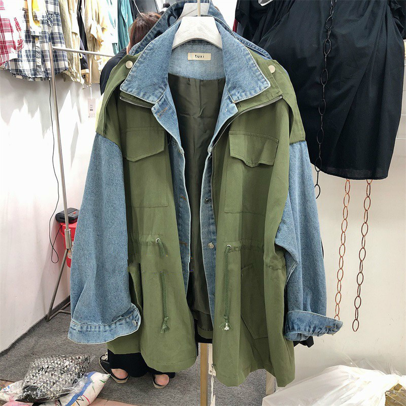 TVVOVVIN 2020 Autumn Loose Version Of Denim Stitching Tooling Jacket Wild Drawstring Waist Slimming Fashion Tops Coat B602