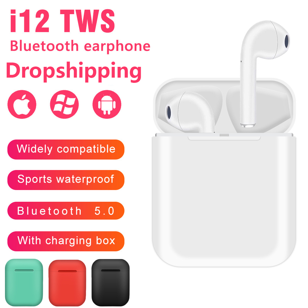 I12 Tws Bluetooth Earphone Wireless Sport Earphones For IPhone Xiaomi Huawei Touch Control Earbuds Surround Sound Charging Case