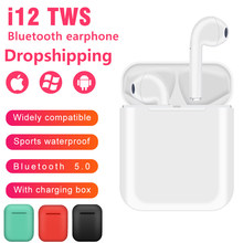 I12 Tws Bluetooth Earphone Nirkabel Sport Earphone untuk iPhone Xiaomi Huawei Kontrol Sentuh Earbud Suara Surround Pengisian Case(China)