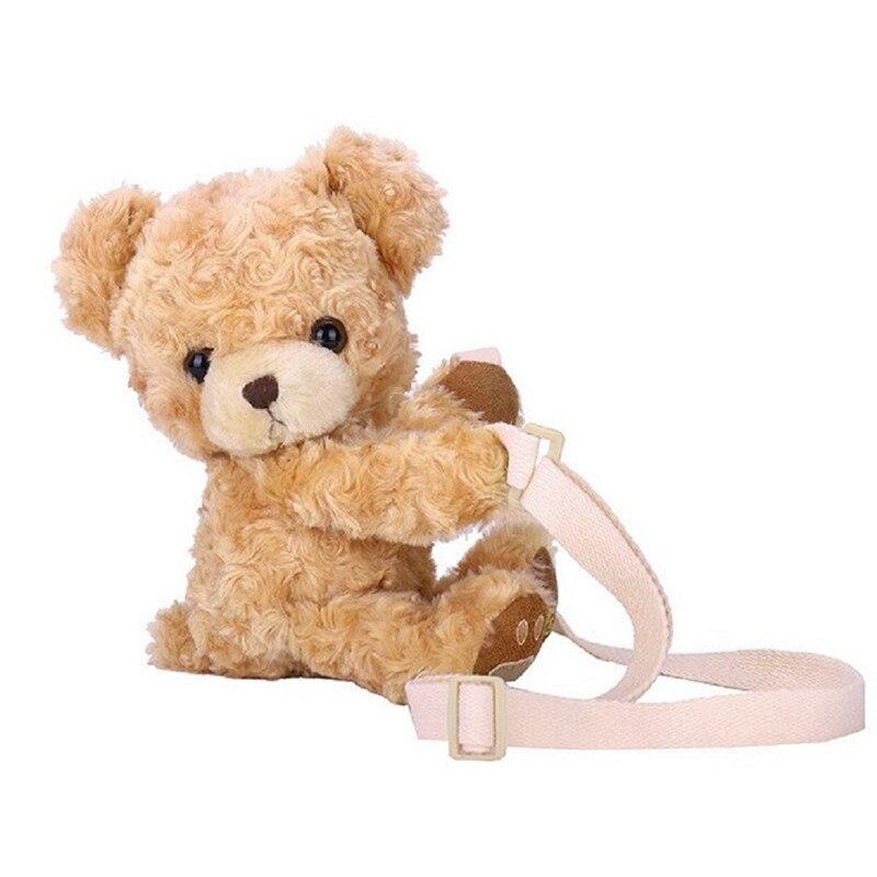 New Cute Bear Women Girls Cute Smile Bear Soft Plush Doll Cross-Body Mini Messenger Bag Children Adorable Mini Bear Bags Gifts