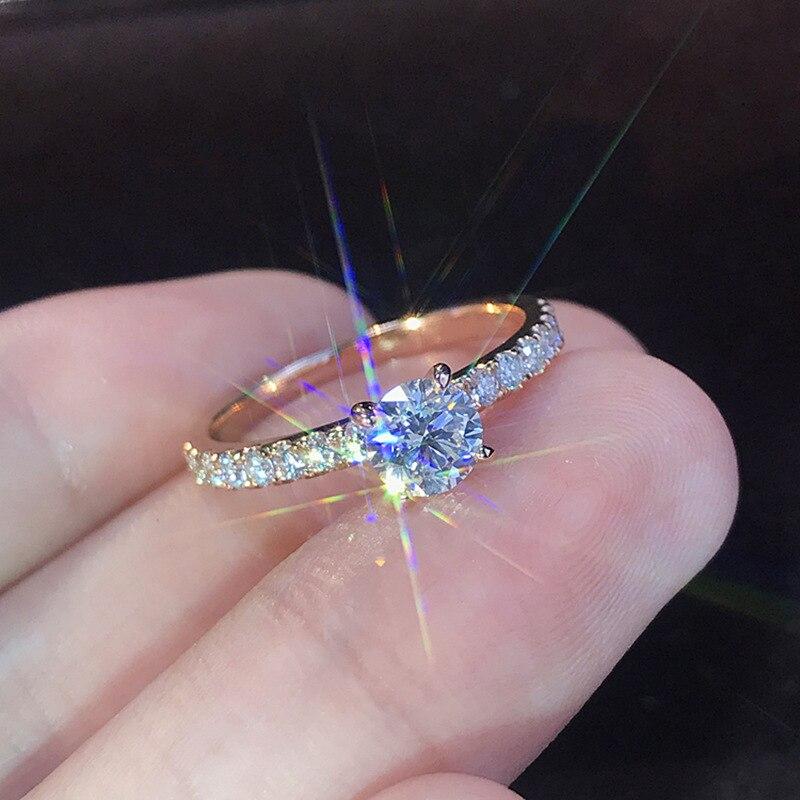 Anéis de cristal de noivado, para mulheres aaa, zircônio cúbico branco elegante
