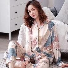 Frühling Frauen Silk Pyjamas Langen Ärmeln Lange Hosen 2 Stück Set Weibliche Herbst Mode Print Nachtwäsche Sets Größere Größe XXXL