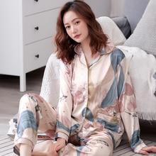 Spring Women Silk Pajamas Long Sleeved Long Pants 2 Piece Set Female Autumn Fashion Print Sleepwear Sets Larger Size XXXL