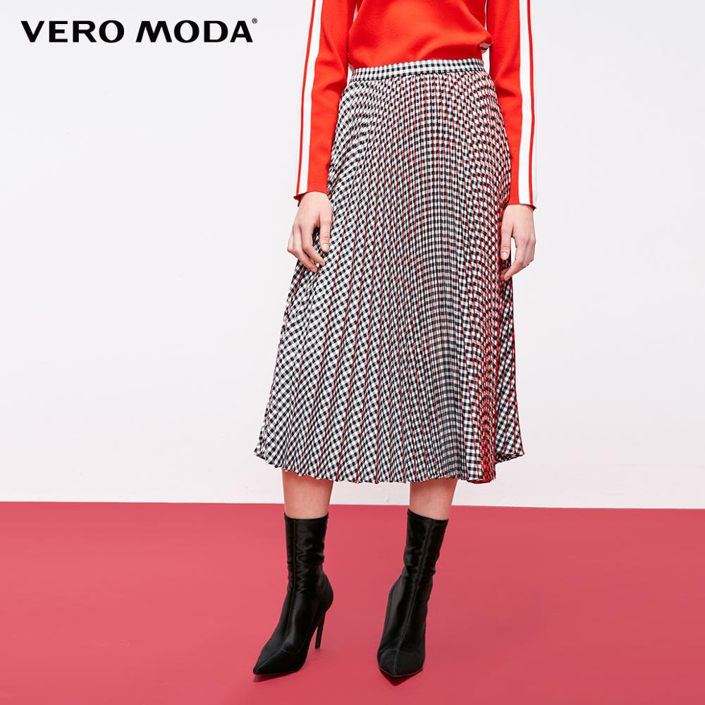 Vero Moda Women's Vintage Contrasting Plaid Pleated Skirt | 319116508