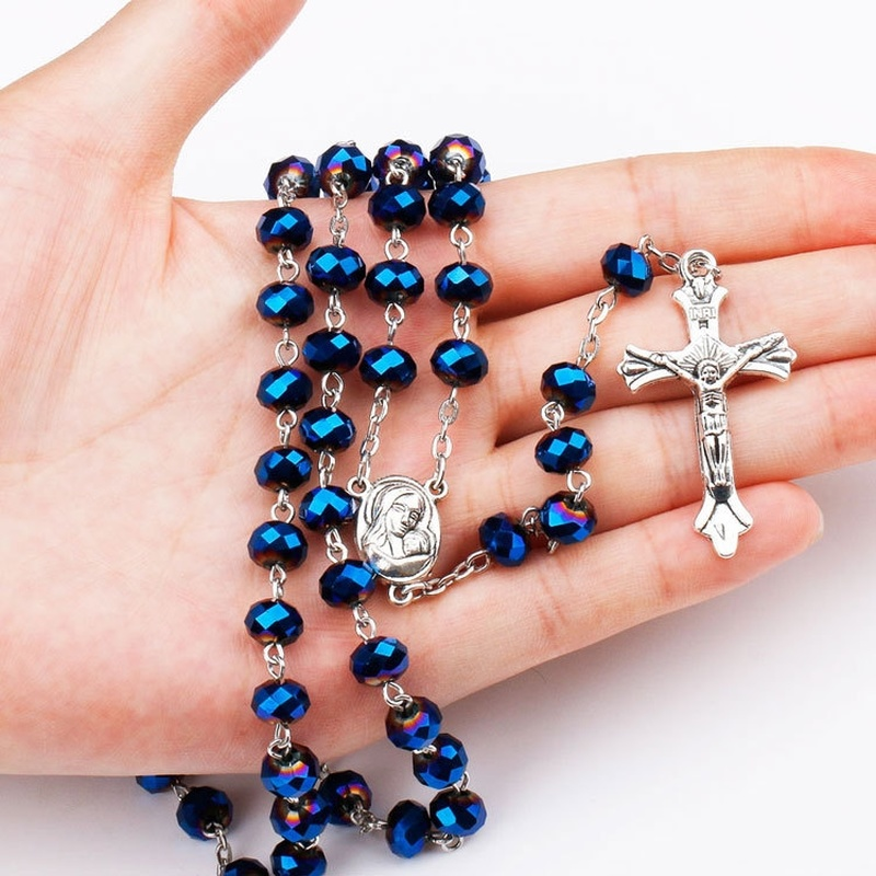 Blue Glass Crystal Catholic Rosary Sweater Chain Holy Mother Holy Land Holy Child Blessed Virgin Mary Religious Cross Necklace