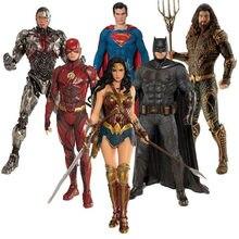 18cm liga da justiça super herói aquaman mulher maravilha superman batman flash cyborg modelo coleção figura de ação brinquedos
