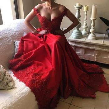 цена на Sexy V-Neck Appliques Lace Beading Red Prom Dresses  Long 2019 Backless Satin A-line Evening Dress Vestido De Festa Longo