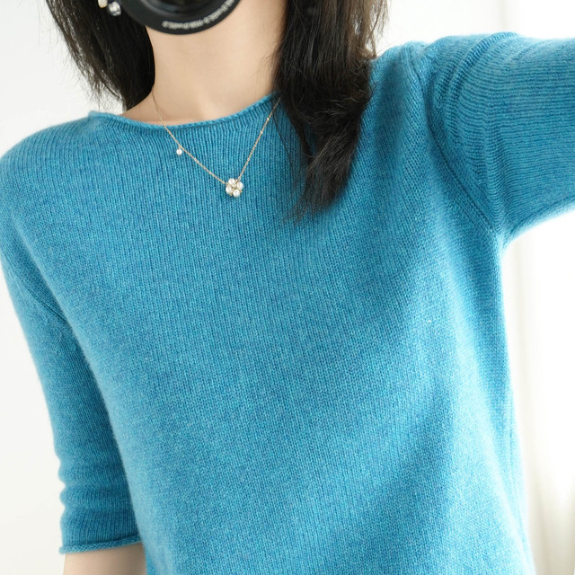 women's sweater short sleeves solid curling o-neck knitted top short stylish casual pullover jumper elastic jacket sweater 2