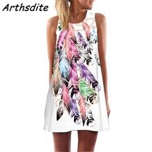 Arthsdite 2019 Summer Women Dress Creative Leather Print Beach Wear Loose Office A-line Sleeveless Vest Vestidos
