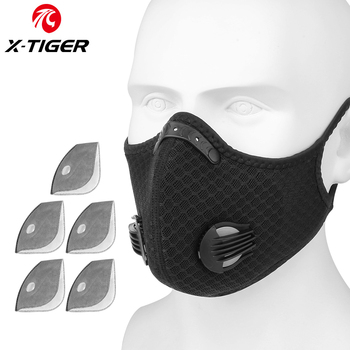 X-TIGER Cycling Face Mask PM 2.5 Bike Mask Activated Carbon Breathing Valve Sports Masks With Anti-Pollution Filter 17