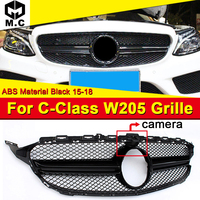 For Mercedes C Class C205 W205 S205 Sports Front Grille Grill Grills W/camera ABS Black Add on Style C63 Look Not Fit C63 15 18