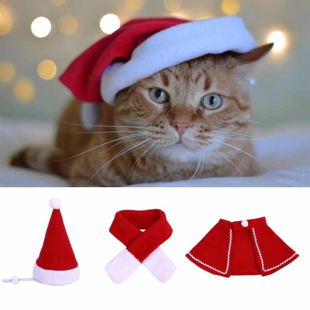 Рождественская накидка для домашних животных, шапка, шарф, комплект, кошка, Рождественская накидка для щенков, нагрудник, праздничный костюм, комплект, товары для домашних животных
