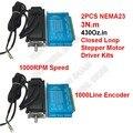 2 шт. 3 Нм Nema23 57 мм 2PH постоянного тока высокая скорость крутящего момента 1000 об/мин DSP замкнутый цикл шаговый двигатель наборы драйверов Hybird э...