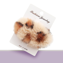 New 3.5 Winter Fur Ball Hair Clips for Girls Lovely Soft Barrettes BB Fashion Leopard Women Accessories