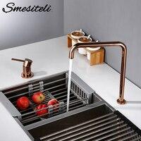 Smesiteli 360 stopni obrotowy kran kuchenny z litego mosiądzu podwójny otwór pojedynczy uchwyt różowe złoto w kształcie litery L kuchnia umywalka kran