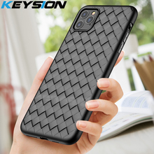KEYSION Super Soft silicone Phone Case for iPhone 11 Pro Max Luxury matte Grid back cover