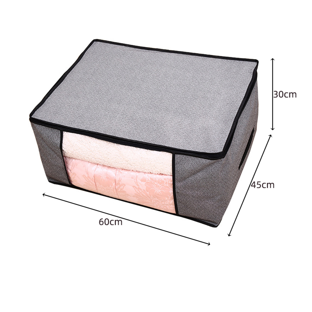 Non Woven Fabric Folding Storage Box Dirty Clothes Collecting Case With Zipper For Toys Quilt Storage Box Clear Window Organizer - Цвет: 60x30x20cm gray