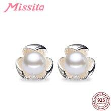 купить MISSITA 100% 925 Sterling Silver Clover Pearl Stud Earrings for Women Silver Jewelry Brand Wedding Earrings Romantic Gift дешево