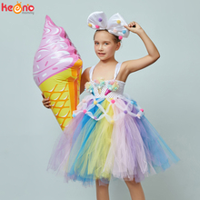 Candy Girls Kids Ice Cream Tutu Dress with Bows Children Birthday Cake Smash Photo Food Costume Girls Dance Pageant Gown Dress