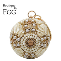 Boutique De FGG Vintage Round Women Beaded Evening Bags and Clutches Wedding Purses Bridal Party Handbags