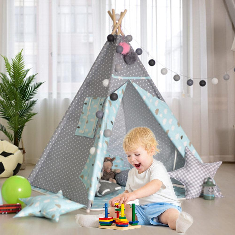 Kid Tent 156x120cm Indoor Outdoor Portable Teepee PlayhouseToys Indian Play Tent House White Children Tipi Tee Pee Tent Gifts
