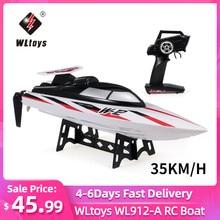 Original wltoys WL912-A rc barco 2.4g rádio-controlado 35km/h de alta velocidade 390 motor de controle remoto brinquedo rc barco de corrida para crianças
