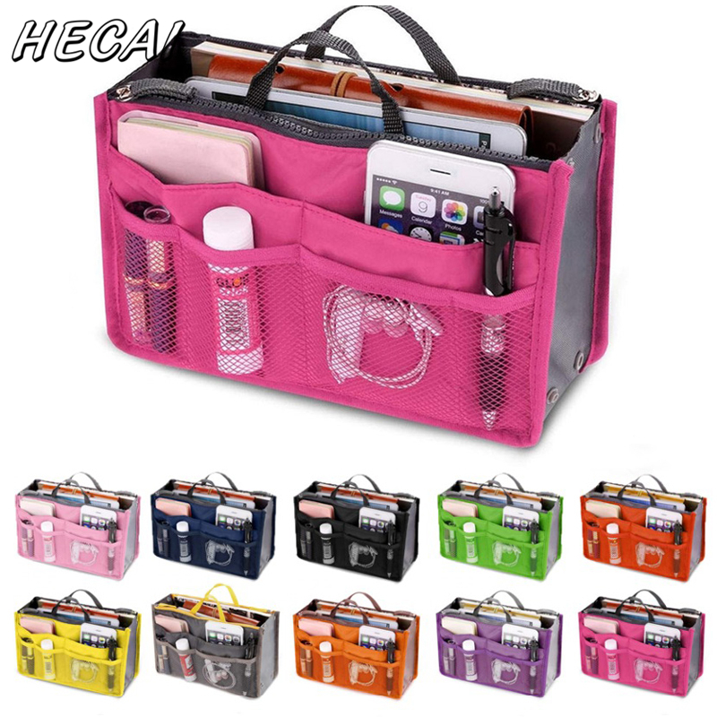 Multifunction Organizer Insert Bag Women Nylon Travel Insert Organizer Handbag Purse Large Liner Lady Makeup Cosmetic Bag