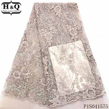 H&Q newest french net lace fabric 2020 high quality embroidery nigerian tulle fabrics african sequins laces for garment sewing