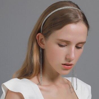Shiny Rhinestone Bejewelled Headband Tassel Pendant Hair Band Luxury Diamond Hoop Christmas Fashion Women HairBand