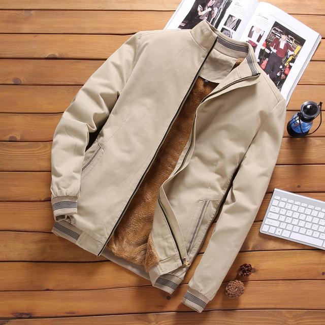 Fleece Thick Warm Jacket Mens 2021 Autumn Winter Mens Warm Bomber Jackets Casual Coats Tops Male Outerwear M-5XL 4
