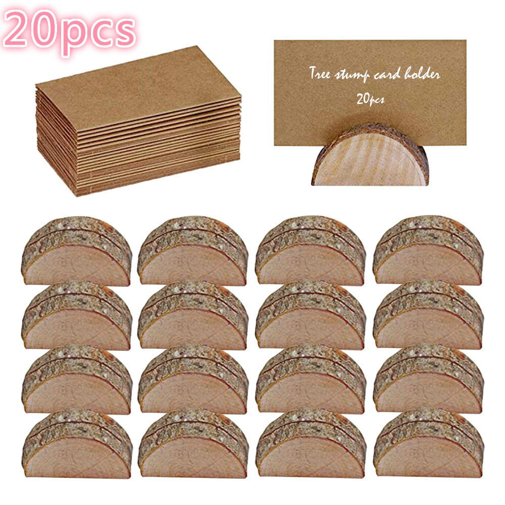20pcs Wooden Table Holder and Folding Cardboard Place Card Holders Note Photo Picture Clip Wood Wedding Party Direction Signs