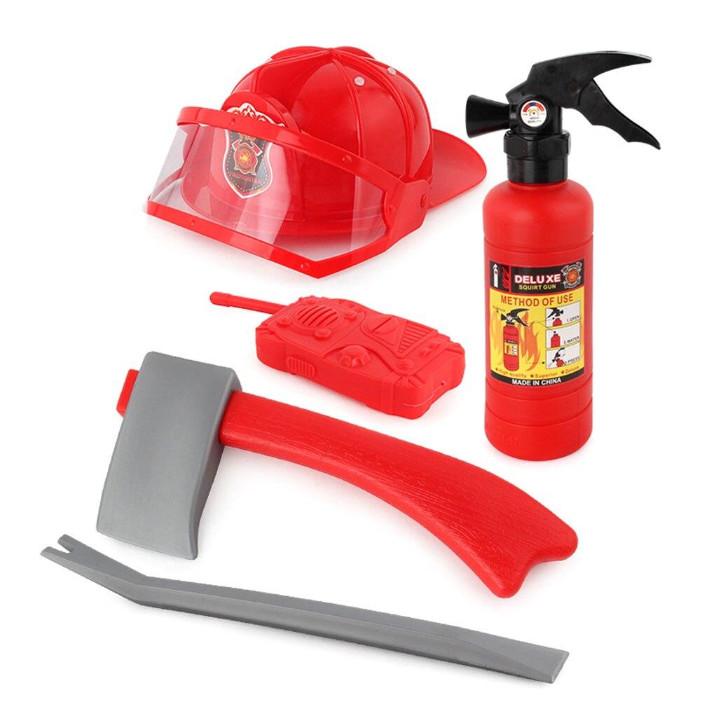 5pcs Children Firefighter Fireman Cosplay Toys Kit Helmet Fire Extinguisher Intercom Axe Wrench Set Kids Girl Boy Gift