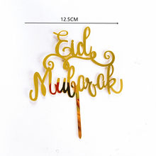Novo eid mubarak bolo topper ouro prata acrílico cupcake topper para hajj mubarak decorações do bolo muçulmano eid bolo de cozimento suprimentos
