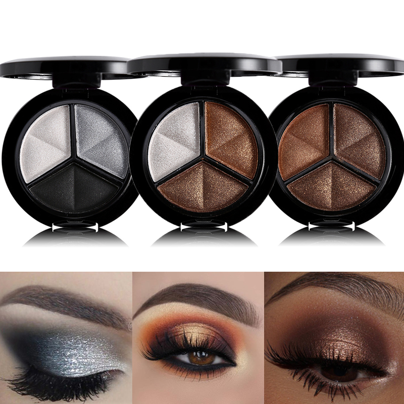 3 Colors Shimmer Glitter Eye Shadow Palette Makeup Copper Bronzer Sliver Grey Metallic Smoky Cut Crease Eyeshadow Nude Cosmetics