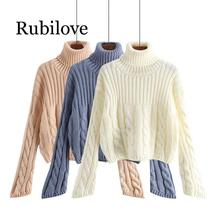 Rubilove 2019 Autumn Winter Women Turtleneck Sweater Knitted Pullover Warm Female Sweater Jumper Pull Femme цена и фото