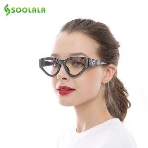 Image 3 - SOOLALA Bling очки для чтения «кошачий глаз» женские с чехлом оправа для очков женские очки для дальнозоркости + 0,5 0,75 1,0 1,25 1,5 до 4,0