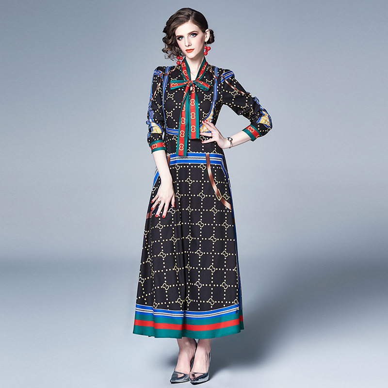 Ozhouzhan WOMEN'S Dress 2019 Vintage Printed Long Sleeve Of Lead-Style Slim Fit Big Hemline Long Dress