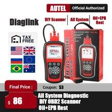 Autel قارئ رمز OBD2 للسيارات ، أداة تشخيص السيارة ، ماسح إعادة ضبط زيت EPB PK MD802 CRP129 ، DiagLink