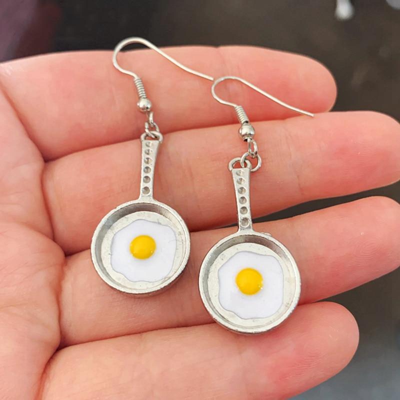 New Fried Egg Earrings, Food Earrings, Frying Pan Earrings, Cute Earrings, Kawaii, Gift Idea