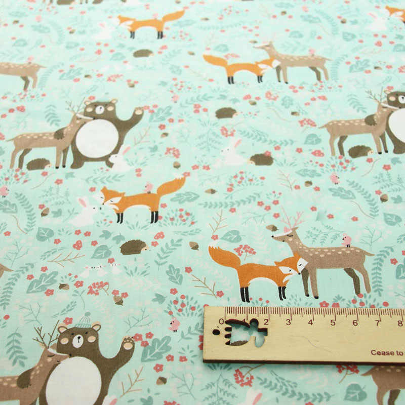 Deer Fox หมีคริสต์มาสพิมพ์ผ้าฝ้าย 100% สำหรับทำชุดหมอนอิงผ้าห่มเย็บเด็กทารกเตียงแผ่นสิ่งทอ