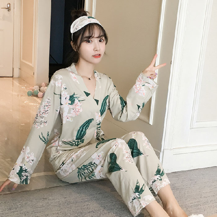 Autumn & Winter Long Sleeve Japanese Style Kimono Pajamas WOMEN'S Cardigan Spring Sweet Cute Students Home Wear Two-Piece Set